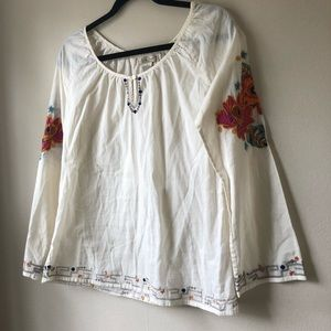 LUCKY ivory boho peasant top with embroidered rose
